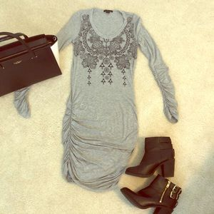 Forever 21 Ruched Long Sleeve Gray Dress in Small